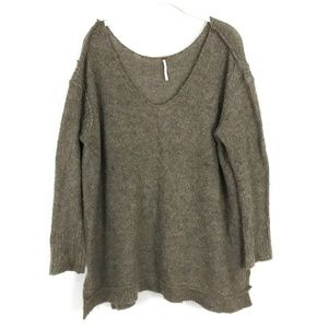 FREE PEOPLE Lofty V-neck Knit Sweater Pullover